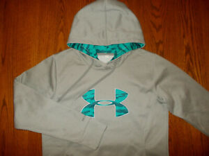 UNDER ARMOUR STORM GRAY HOODED SWEATSHIRT WOMENS LARGE EXCELLENT CONDITION