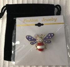 New - Gift Box Amercan Flag Bee Pin -