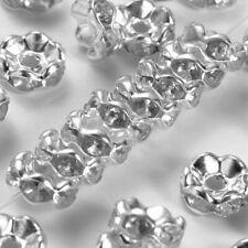 20X Rhinestone Shamballa Flower Beads Spacers Rondelle  Bracelet Necklace Watch