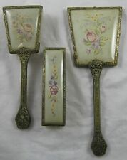 Vintage Vanity Petit Point Embroidered Dressing Table Set Cross Stitch 3 Pieces
