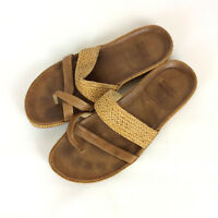 Stuart Weitzman Sandals Size 7 M Brown Woven Leather Wedge Thong