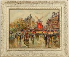 After Antoine Blanchard, Paris Street Scene, Oil on Canvas, Signed