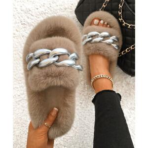 Ladies Faux Fur Slippers Silver Chain Furry Fluffy Fur Sandals Flip Flops Beach