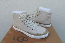 UGG GRADIE ANTIQUE WHITE LEATHER SNEAKER ANKLE BOOTS, US 7.5 / EUR 38.5  ~NIB