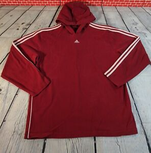 Vintage Adidas Red With 3 White Stripe Hoodie Size Large