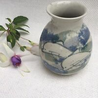 Vintage Studio Pottery Vase Blue Glazed Dolphins Design Marked