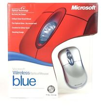 Microsoft Wireless Optical Mouse Blue USB PS/2 K80-00004 Two Tone Silver OEM New