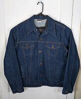 Vintage Big Mac Denim Trucker Work Jacket Men 46 Tall XL Made USA Dark Wash 90s