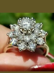 2.1 CT Vintage Diamond Flower Cluster 14k White Gold Over Cocktail Ring