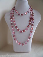 New Very Long Shell Button Beaded Necklace in Pink or Blue or Bronze Brown
