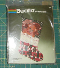 "Toy Bears Stocking Bucilla Needlepoint Kit Christmas 17"" New"