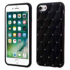 "Apple iPhone 8 7 4.7"" Silikon Case Rhinestone Rhombus Glitzer Bling Bag Schwarz"