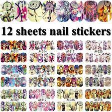 12 Blatt Colorful Nail Art Nagelfolie Nagel Schablone Nagelaufkleber Decals