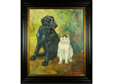 'The Dog & The Cat' by Gerry Blood - Original Oil Painting. Listed Artist
