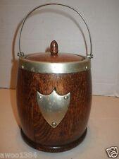 Antique Edwardian Era Vintage Oak Biscuit Barrel Ice w Ceramic Liner & Hallmarks