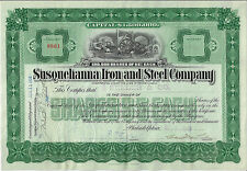 Pennsylvania 1903 Susquehanna Iron and Steel Company Stock Certificate Abn