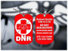 Medical Alert DNR EKG Design Necklace - Super Hard Red Anodized - Personalized
