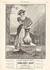 1901 ANTIQUE PRINT - ADVERT-SUNLIGHT SOAP FLAKES-TURNING TIME TO ADVANTAGE