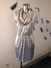 luxueuse robe drapée satin argenté S'NOB de NOBLESSE taille M NEUVE 105€