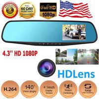 2019 High Quality 4.3'' 1080P Lens Car Auto DVR Mirror Dash Cam Recorder Kit Hot