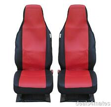 FRONT RED BLACK FABRIC SEAT COVERS 1+1 FOR NISSAN PIXO PATHFINDER NAVARA PICKUP