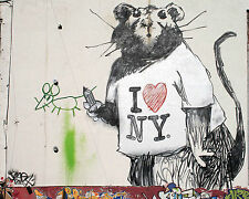 Banksy I Love NY Rat premium quality 30 x 40 inch Canvas Gilcee Print graffiti