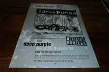 DEEP PURPLE - Publicité de magazine / Advert OLYMPIA 96 !!! UK