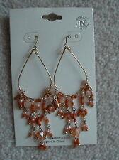 Pink & Orange Crystal Drop Chandelier Earrings Handmade Gold Filled