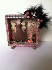 Altered art mixed media fairy shadow box WATCH OVER YOU OOAK  original collage