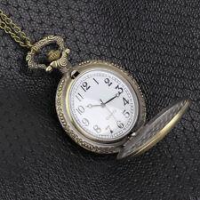 Antique Vintage Retro Bronze Quartz Pendant Chain Necklace Pocket Watch FL