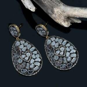 925 Sterling Silver Natural Rose Cut Polki & Pave Diamond Drop Dangle Earring