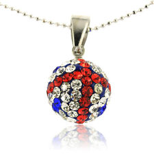 Shamballa Ball Pendant & Stud Earrings Set in Red White Blue Crystals