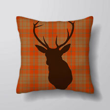 Deer Stag Tartan Orange Printed Cushion Covers Pillow Cases Home Decor or Inner