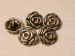 5 Knöpfe Blütendesign altsilber Metallknöpfe Trachtenknöpfe 2 Größen