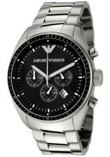 BRAND NEW EMPORIO ARMANI BLACK DIAL STAINLESS STEEL CHRONO MEN'S WATCH AR0585