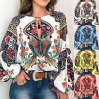 Women's Boho Floral V-Neck Long Lantern Sleeve Oversize Blouse T Shirt Tee Tops