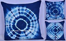 "Indigo Pillow Tie Dye Cushion Cover Shibori Square Pillowcase Handmade Decor 16"""