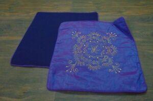 2 PC purple embroidery Silk Cover Cushion Indian Pillow 16 Plain Dupioni Case