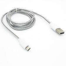 WHITE BRAIDED CABLE RAPID CHARGE POWER WIRE MICRO-USB CORD for PHONE / TABLETS