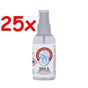 25 x 100 ml Red 5 Desinfektionsmittel Schnell Händedesinfektion Taschenflasche