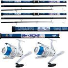 2 x 14FT Beach Caster Sea Fishing BLUE Ocean Rod + 2 x Shizuka 7000 SEA Reels