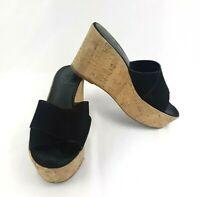 Vince Camuto Womens Wedge Sandals 6.5 M Black Tan Open Toe Platform Shoes