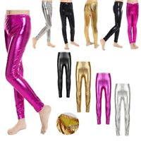 Girls Dance Shiny Metallic Pants Leggings Gymnastics Skinny Stretchy Trousers