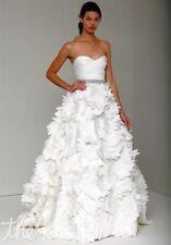 Monique Lhuillier Tinsley Wedding Gown Silk Organza Tag 10 Street Size 4 $6,600