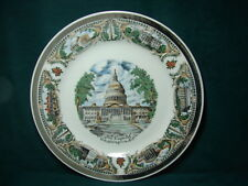 """Vintage Japan 9.25"""" dia Souvenir Plate The Capitol, WASHINGTON DC w/7 Buildings"""