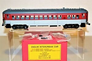 MINT NEW MTS IMPORTS Brass O Scale CNS & M INTERURBAN SILVERLINER COACH CAR - FP