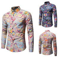 Men Stylish Shirts Casual Long Sleeve Floral Print Shirt Slim Fit Tops Blouse DS