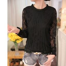 Womens Elegant Stand Collar Long Sleeve Casual Crochet White Lace T Shirt Blouse