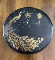 Antique 1920's Tindeco Peacock Crescent Moon Round Tin In Black/Gold