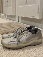 Prada Men's Americas Cup Calzature Uomo Grey Leather Sneakers Prada9 US 10-10.5